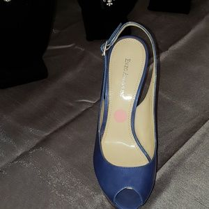 Royal Blue Peep Toe Sling Back Shoes